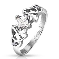 Tribal Design Square CZ Stainless Steel Ring