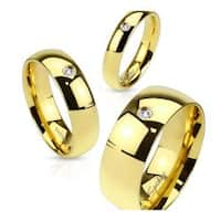 Gold IP Plated 4mm Stainless Steel Wedding Band with CZ