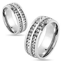 Double Lined CZ Center Stainless Steel Couple Ring