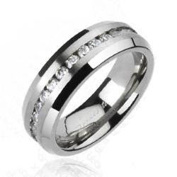 Solid Titanium Brushed Center Multi Round CZ Around Band Ring