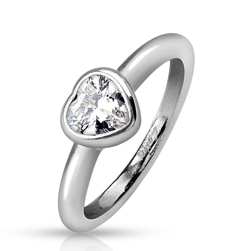 Bezel Heart Clear Gem Stainless Steel Ring