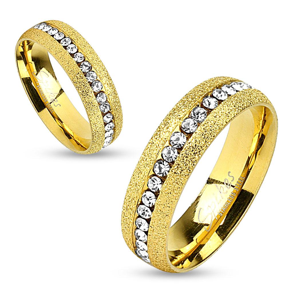 Center Gem Line Gold IP Stainless Steel Couple Ring
