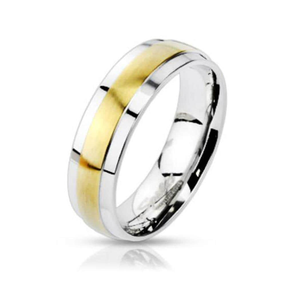 Stainless Steel 2-Tone Gold Plated Center Grooved Band Ring