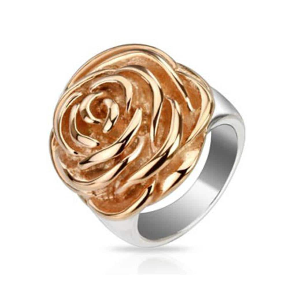 Rose Frontal Rose Gold IP Stainless Steel Ring