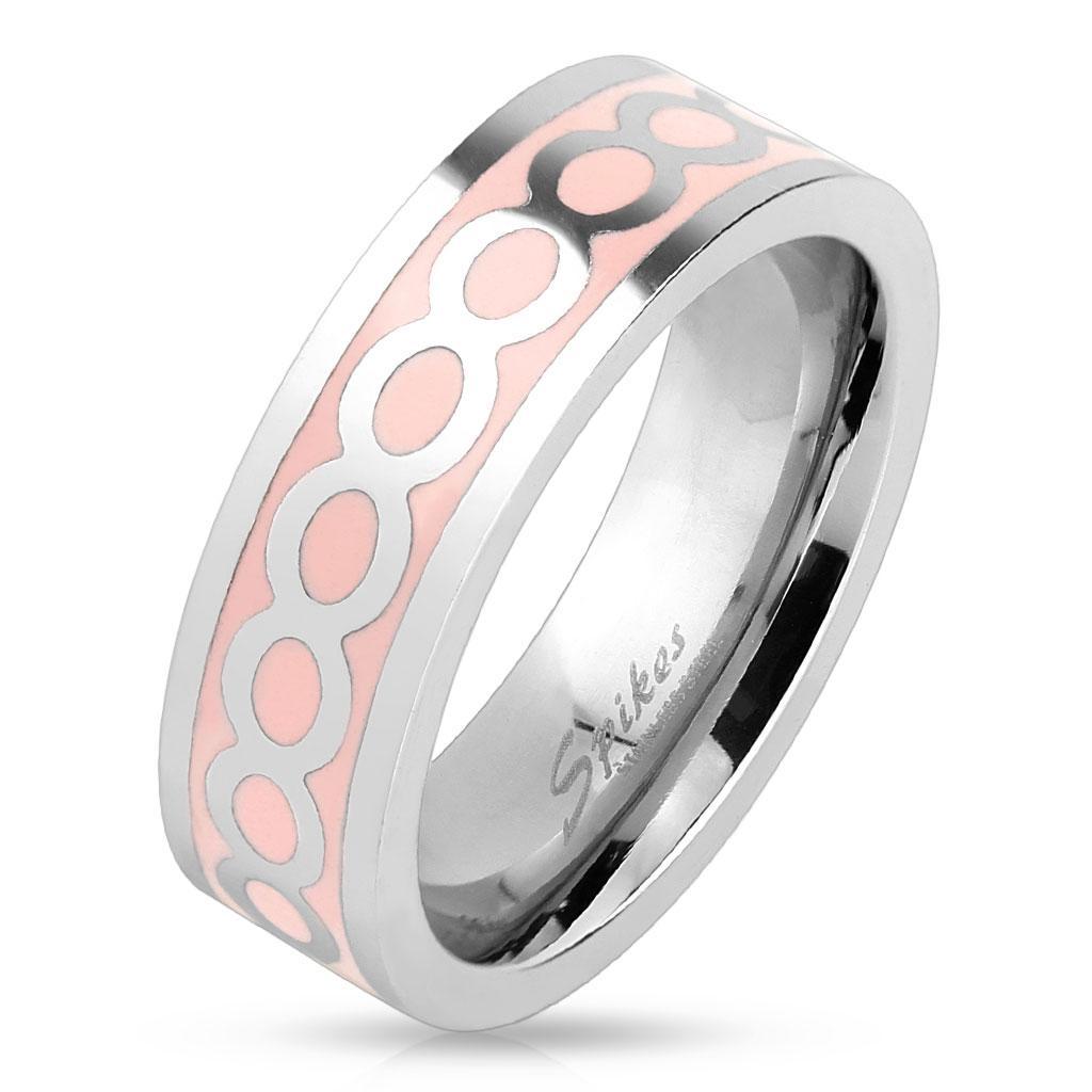 Shiny Infinite Pink Enamel Stainless Steel Ring