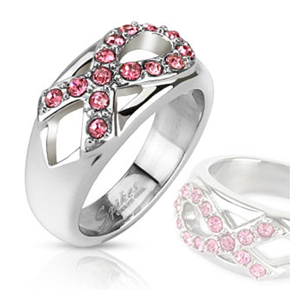 Pink Ribbon Gem Cancer Awareness Cast Band Stainless Steel Ring