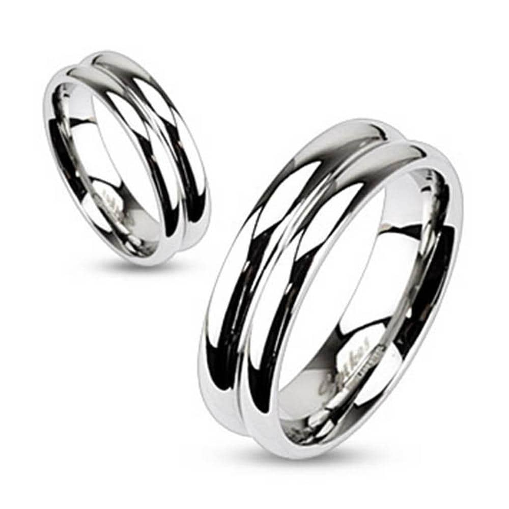 Stainless Steel Double Dome Mirror Polished Band Ring