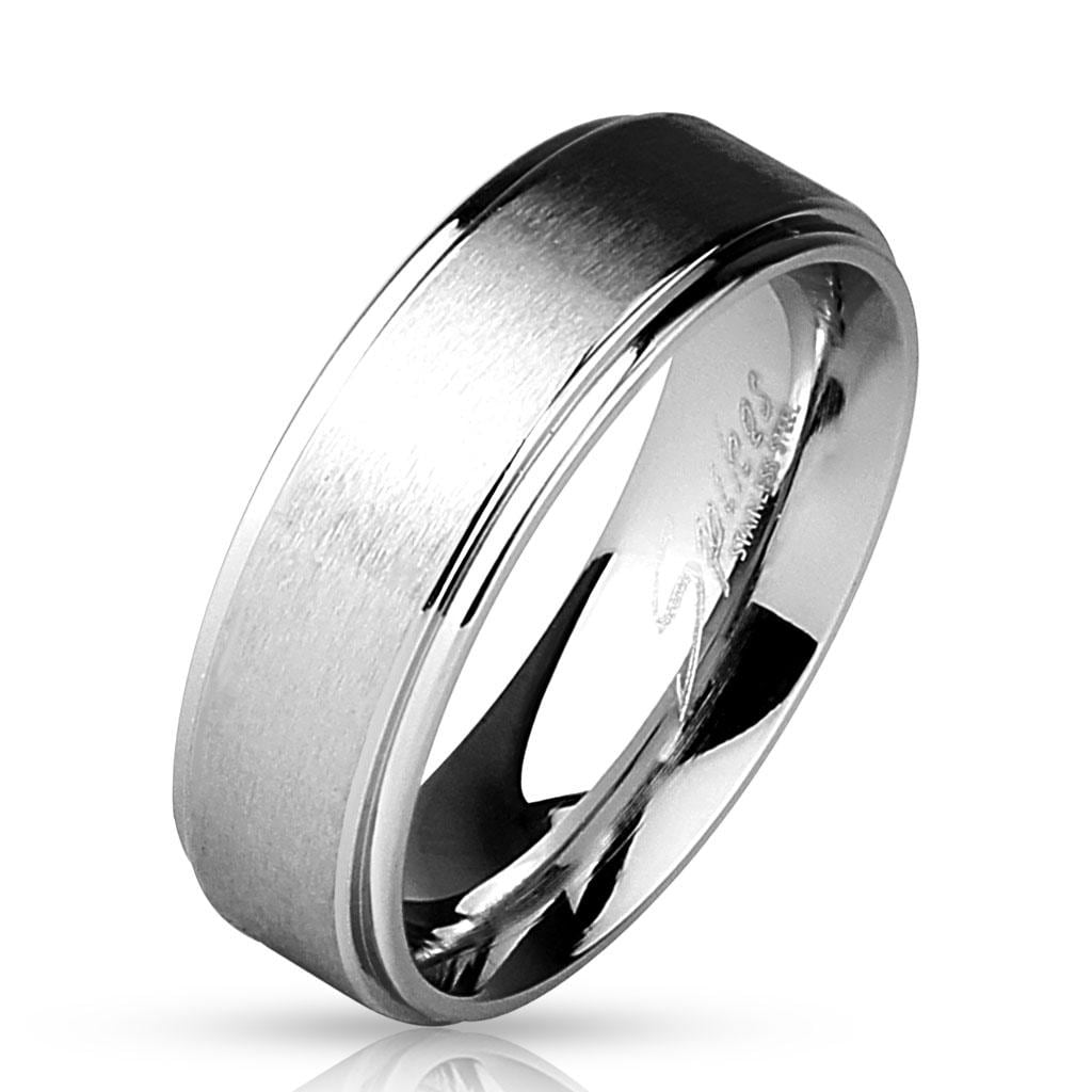 Stepped Edges with Brushed Finish Center 316L Stainless Steel Classic Band Rings