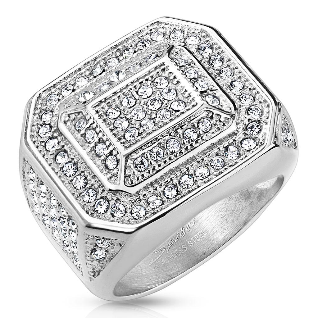 Square Micro Pave Gems with Leveled Inner Square Stainless Steel Ring
