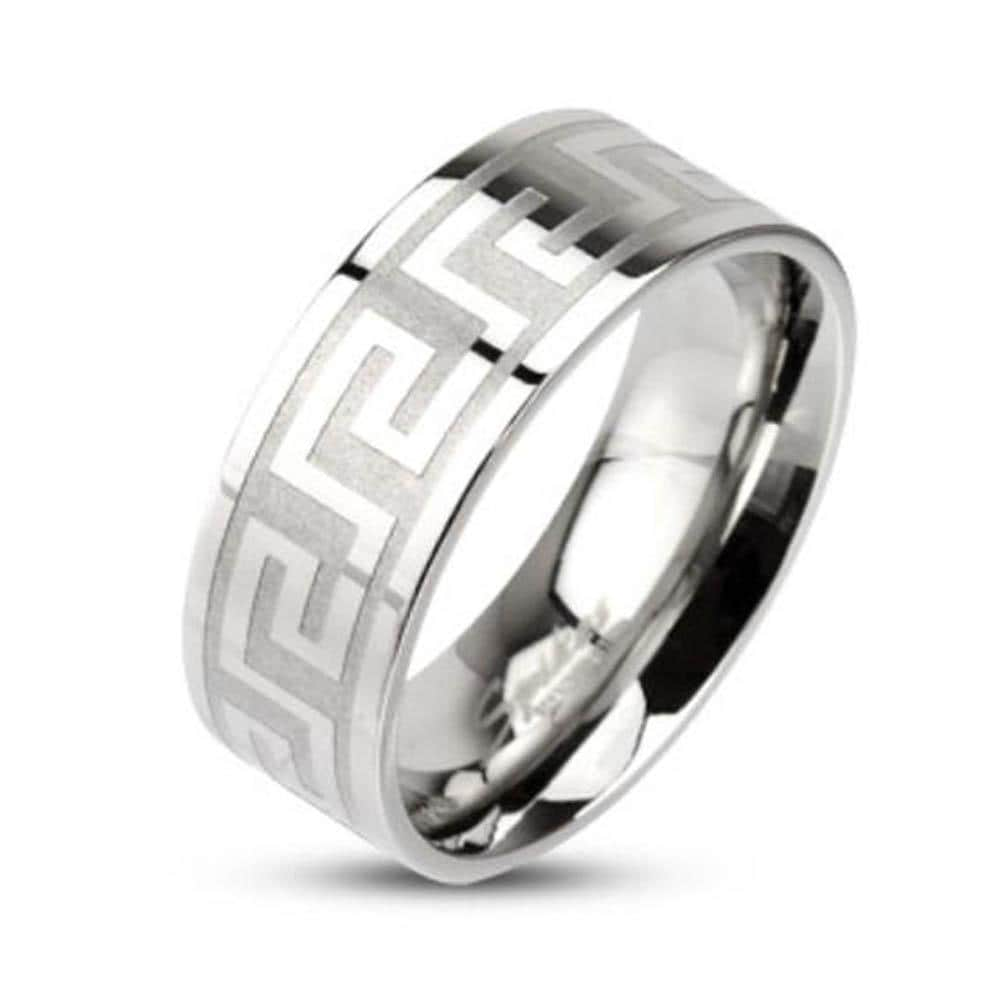 Stainless Steel Maze Pattern Ring