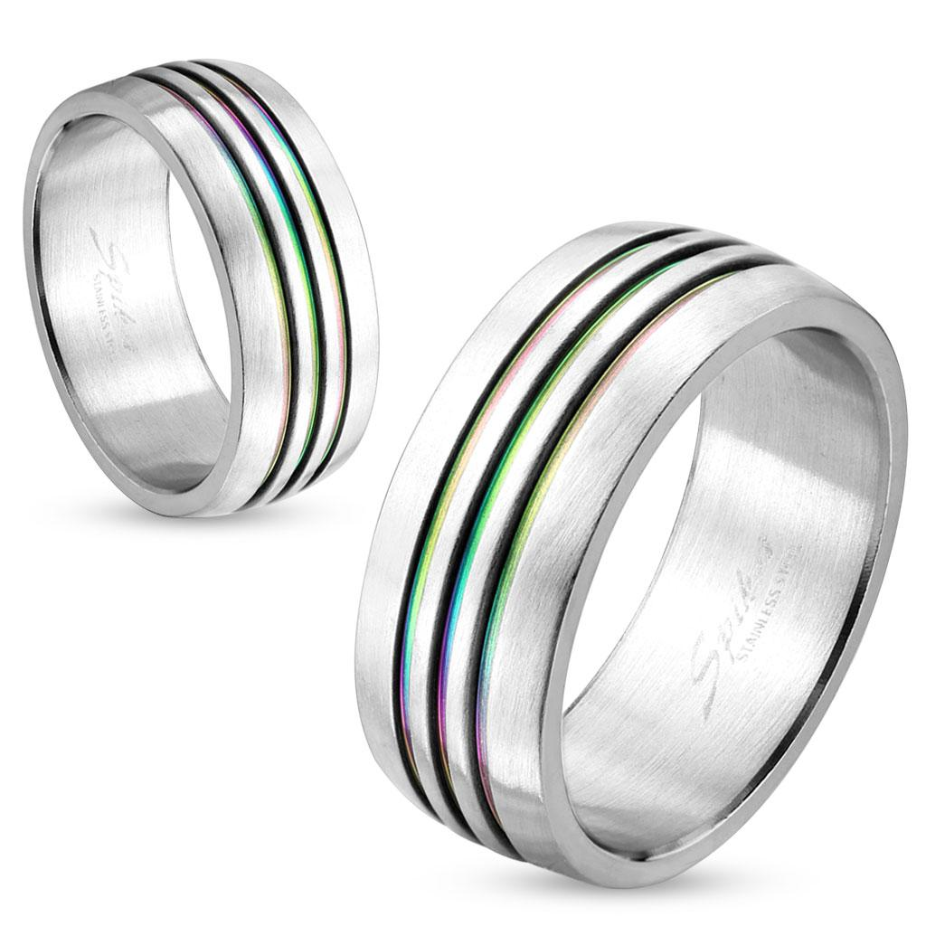 Dome Three Rainbow IP Striped Stainless Steel Couple Ring