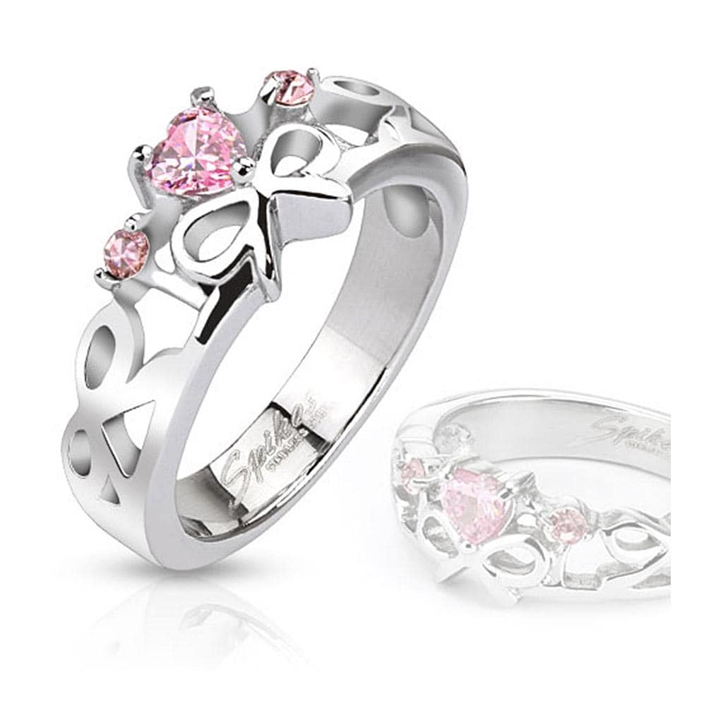 Pink Heart Gemmed Ribbons Cast Stainless Steel Ring