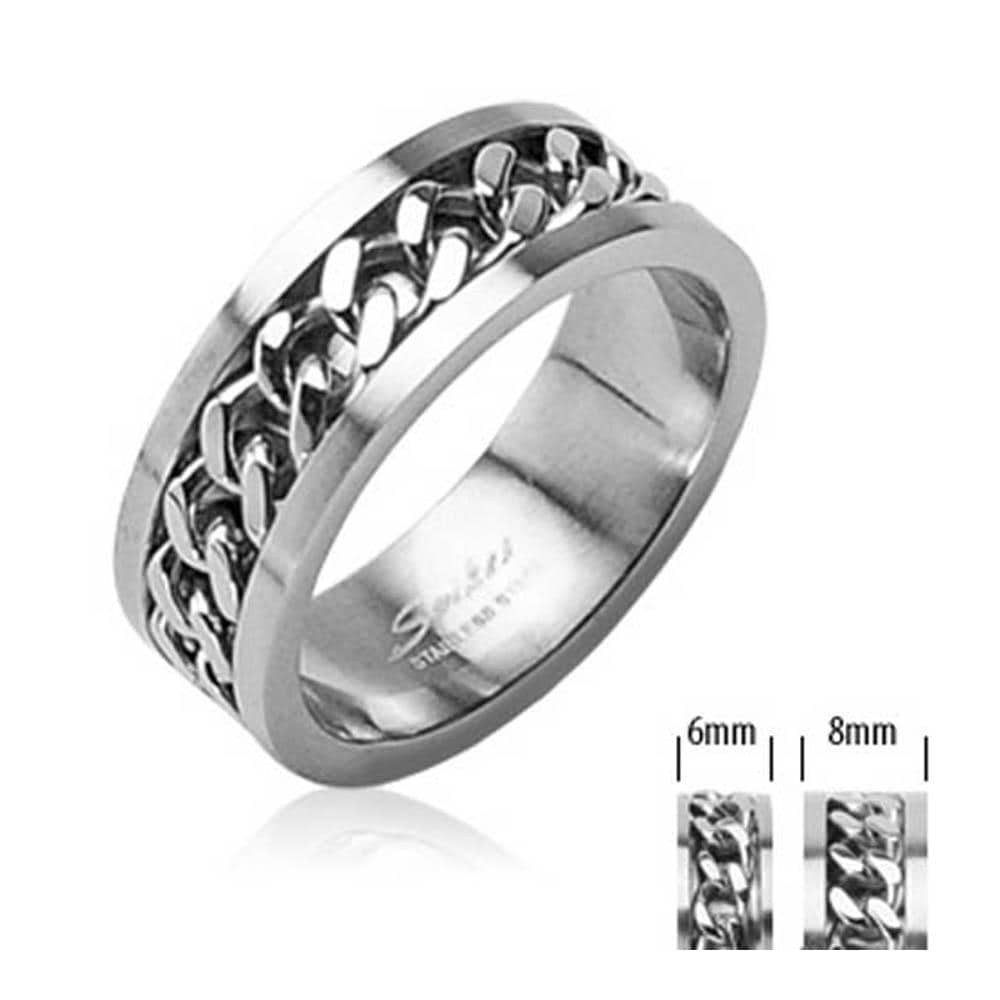 Spinning Chain Center 316L Surgical Stainless Steel Ring