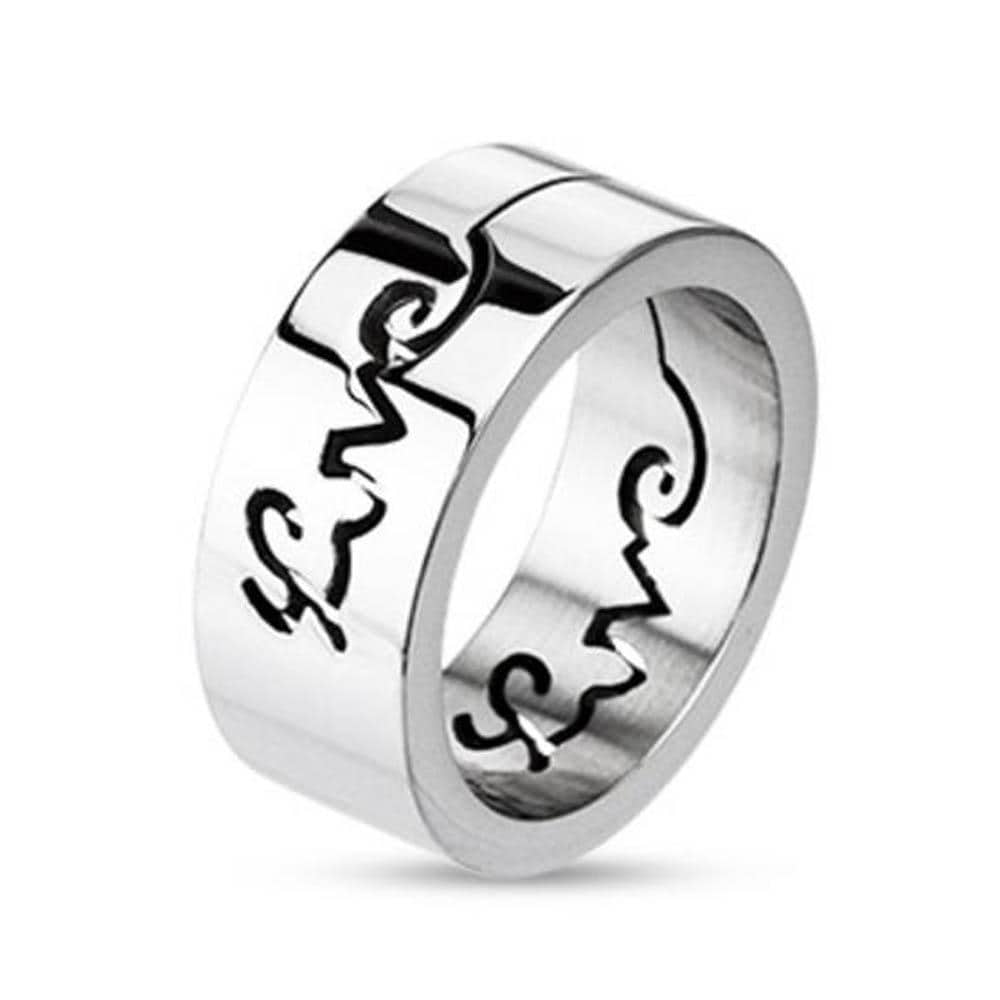 Stainless Steel 'Love' Glossy Mirror Finish Band Ring
