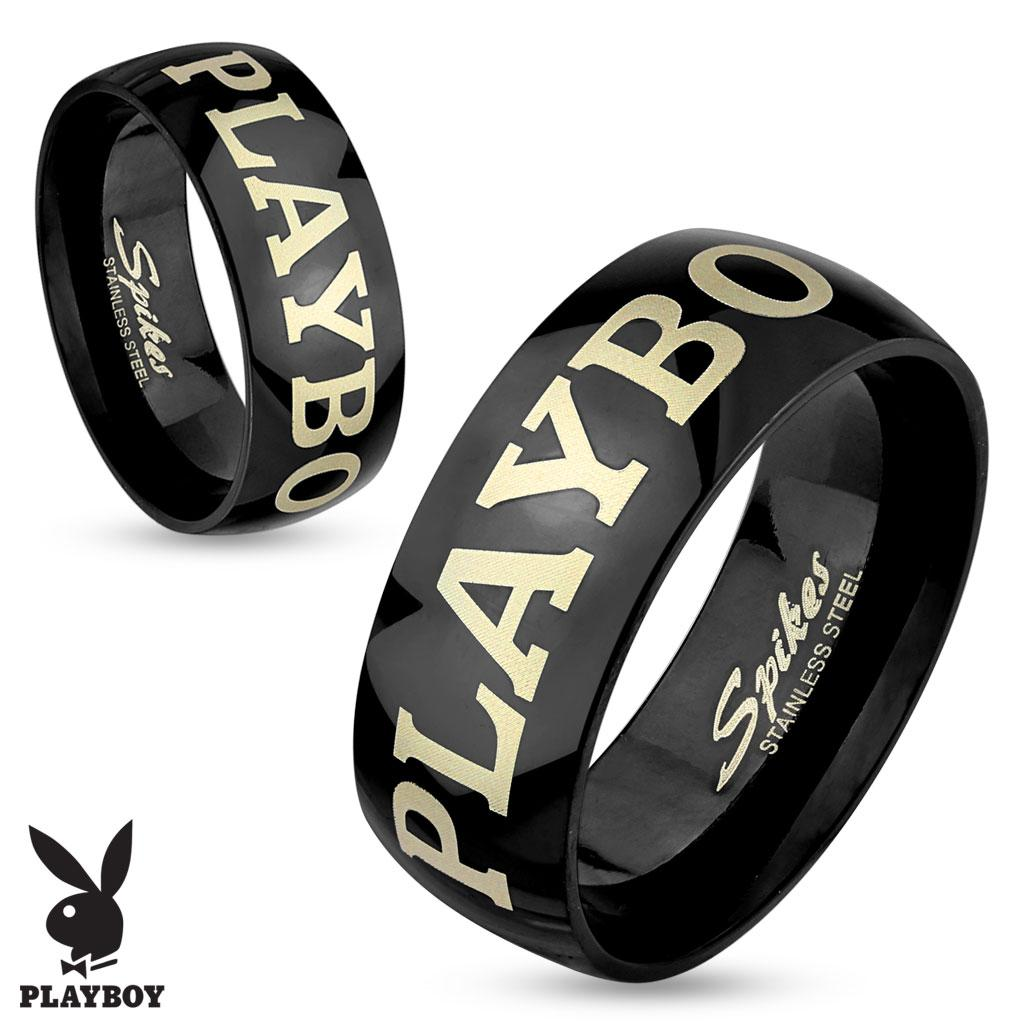 Playboy Laser Etched Black IP Stainless Steel Couple Ring