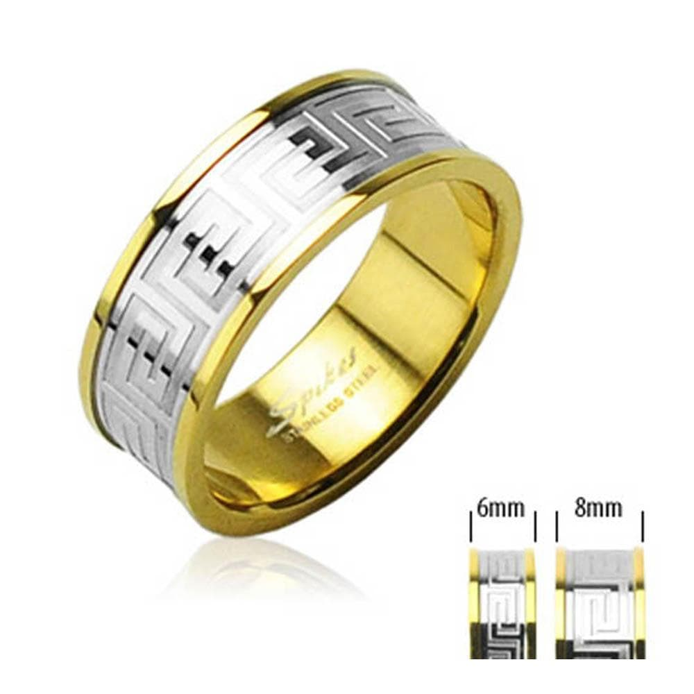 Maze with Gold IP 316L Surgical Stainless Steel Ring