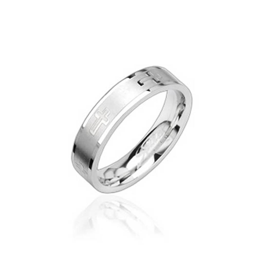 Stainless Steel Ring with Cross Engraving