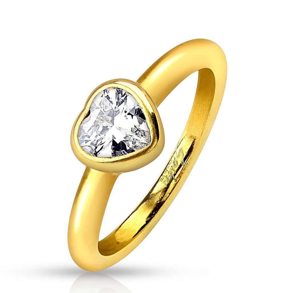 Bezel Heart Clear Gem Gold IP Stainless Steel Ring