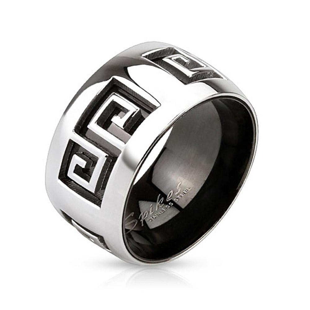 Grooved Maze Two Tone Inner Black IP Over Stainless Steel Band Ring
