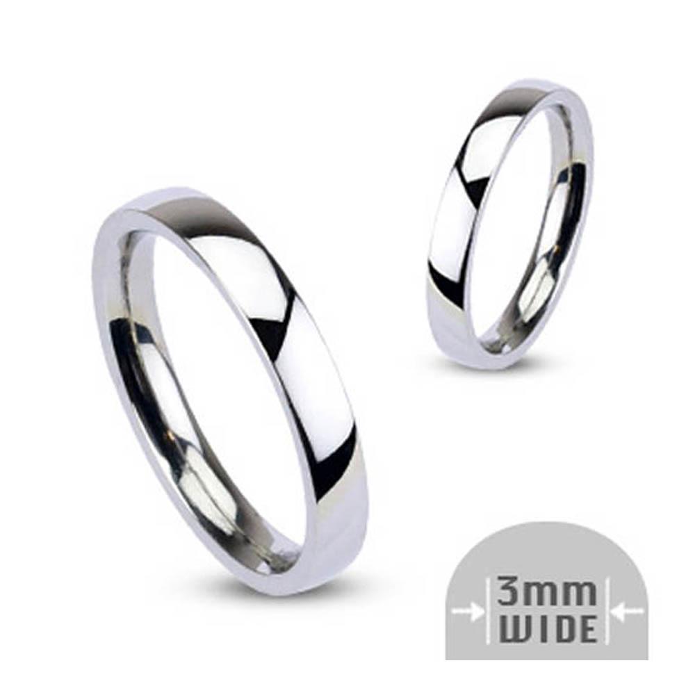 Stainless Steel 3mm Wide Glossy Mirror Polished Stackable Wedding Band Ring