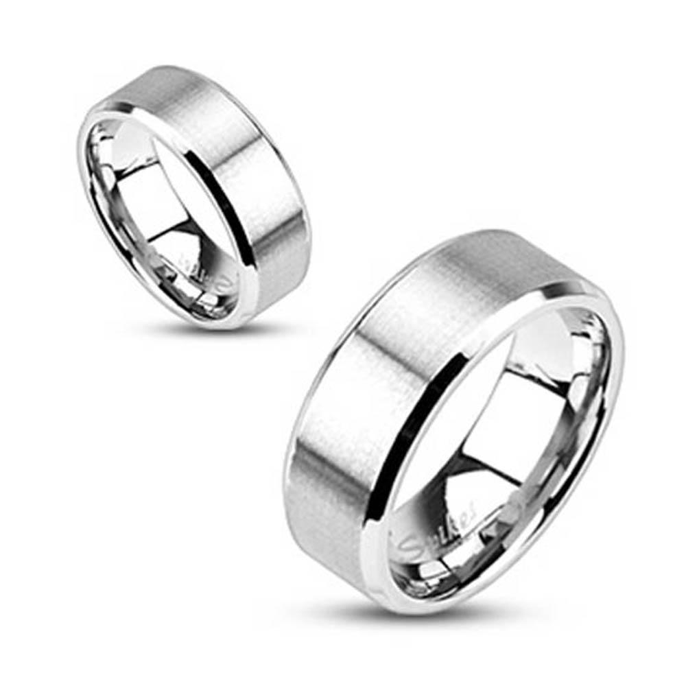 Stainless Steel Brushed Center Flat Band with Beveled Edge Ring