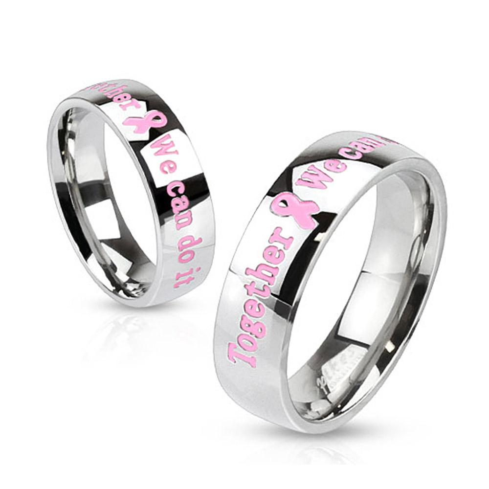 "Pink Awareness Epoxy Letters ""Together We can do it"" Stainless Steel Dome Band Ring"
