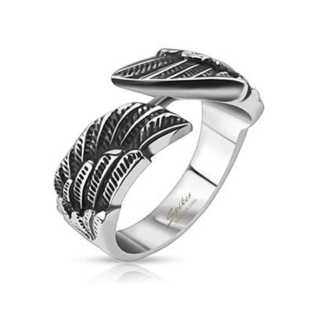 Angel Wings Cast Band Stainless Steel Ring