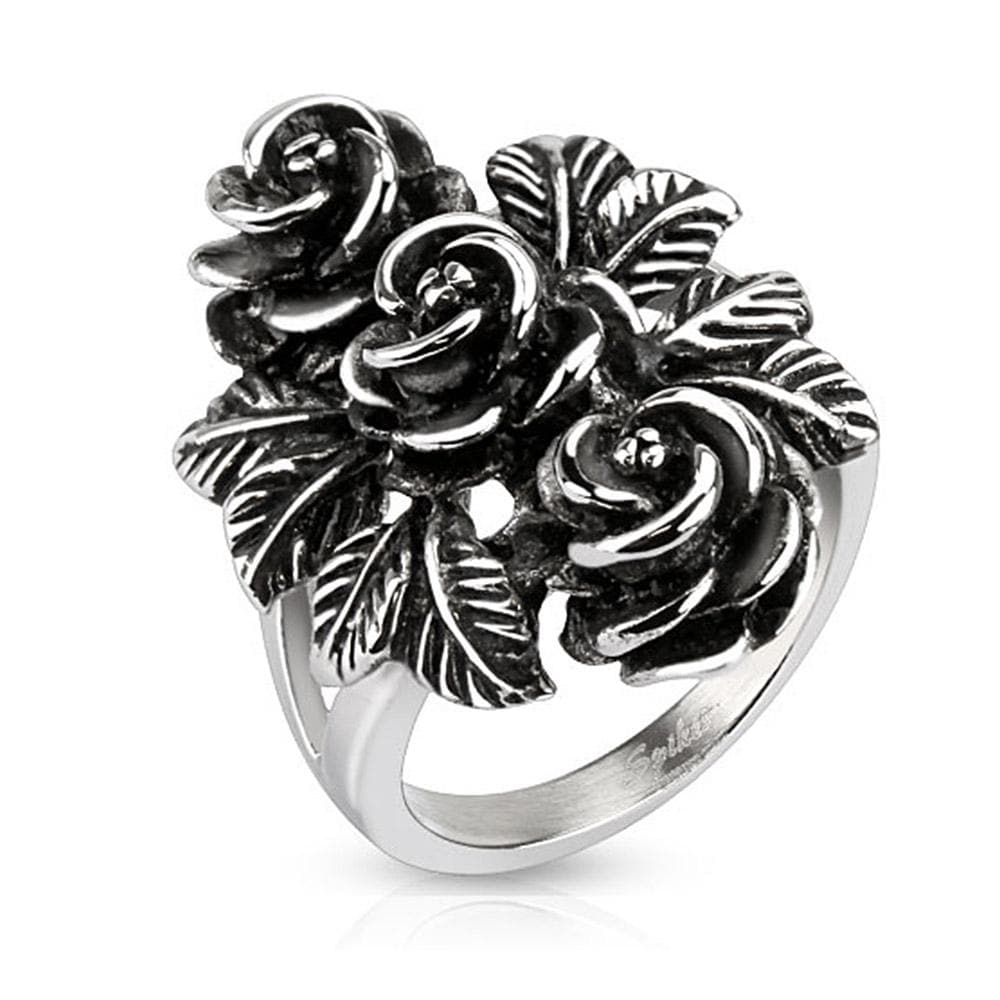Bundle of Vintage Roses Cast Stainless Steel Ring
