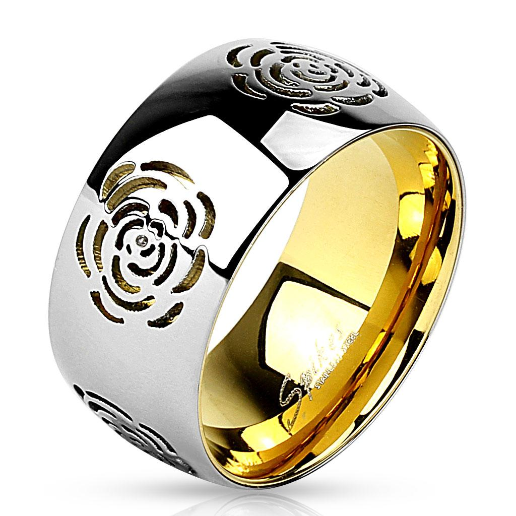 Flower Cut Out Gold IP Two Tone Stainless Steel Ring