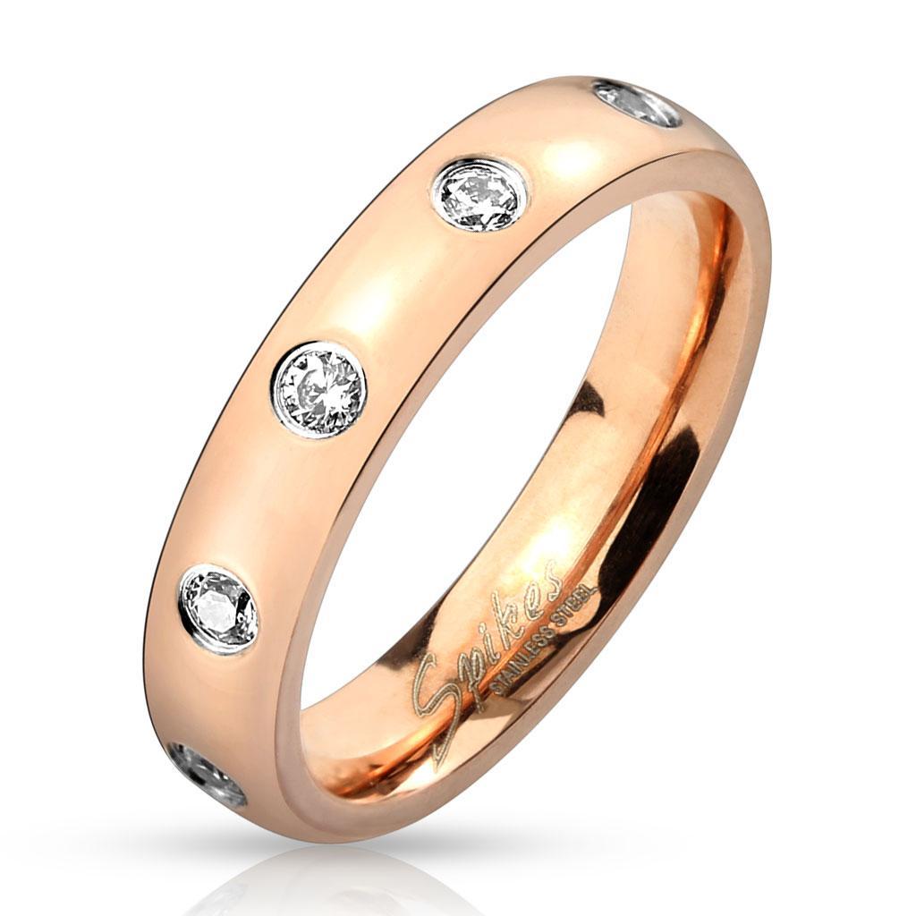 Gem Set Rose Gold IP Stainless Steel Ring