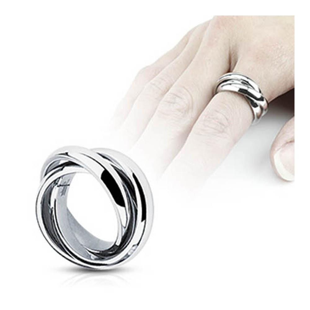 Stainless Steel Triple Roll Links Band Ring