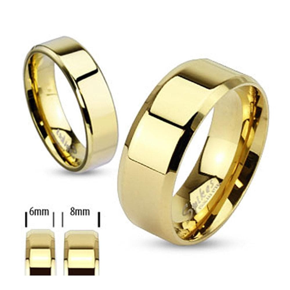 Gold Plated Stainless Steel Beveled Edge Flat Band Ring