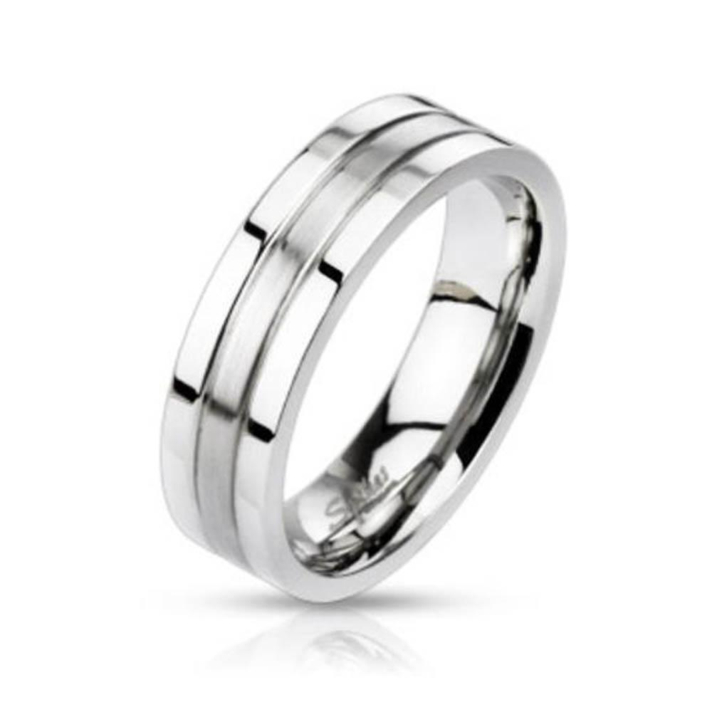 Stainless Steel 2-Tone Groved Band Ring