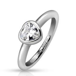 Bezel Heart Clear Gem Stainless Steel Ring - Thumbnail 0