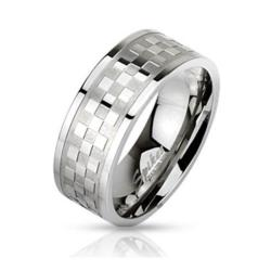 Stainless Steel Checker Pattern Ring - Thumbnail 0