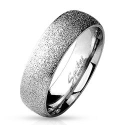 Sand Sparkle Finish Dome Surface 316L Stainless Steel Ring - Thumbnail 0