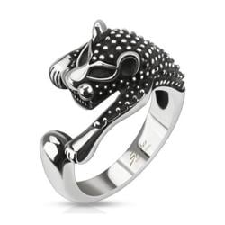 Ancient Feline Cast Stainless Steel Ring - Thumbnail 0