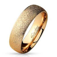 Sand Sparkle Finish Dome Surface Rose Gold IP Over 316L Stainless Steel Ring