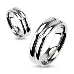Stainless Steel Double Dome Mirror Polished Band Ring - Thumbnail 0