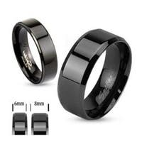 Black Plated Stainless Steel Beveled Edge Flat Band Ring