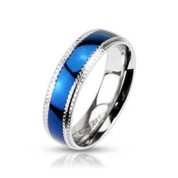 Stainless Steel Blue Plated Millgrain Edge Band Ring - Thumbnail 0