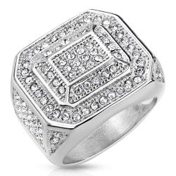 Square Micro Pave Gems with Leveled Inner Square Stainless Steel Ring - Thumbnail 0