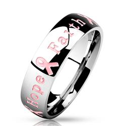 """Courage Strength Hope Faith"" Pink Ribbon Stainless Steel Ring"