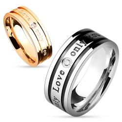 'Only Love Only You' Inscribed Clear Gem Stainless Steel Couple Ring