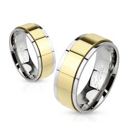 Spinner Gold IP Two Toned 6mm Stainless Steel Ring - Thumbnail 0