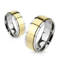 Spinner Gold IP Two Toned 6mm Stainless Steel Ring