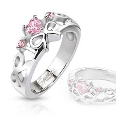 Pink Heart Gemmed Ribbons Cast Stainless Steel Ring - Thumbnail 0