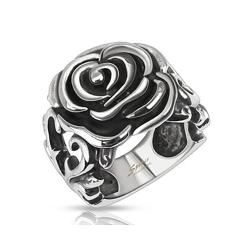 Rose with Heart Vines Wide Cast Stainless Steel Ring - Thumbnail 0