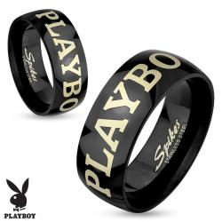 Playboy Laser Etched Black IP Stainless Steel Couple Ring - Thumbnail 0