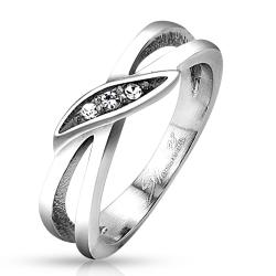 Looped Circles with Gem Set Center Stainless Steel Ring - Thumbnail 0